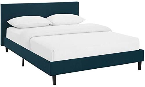 Hawthorne Collections Fabric Upholstered Queen Platform Bed in Azure