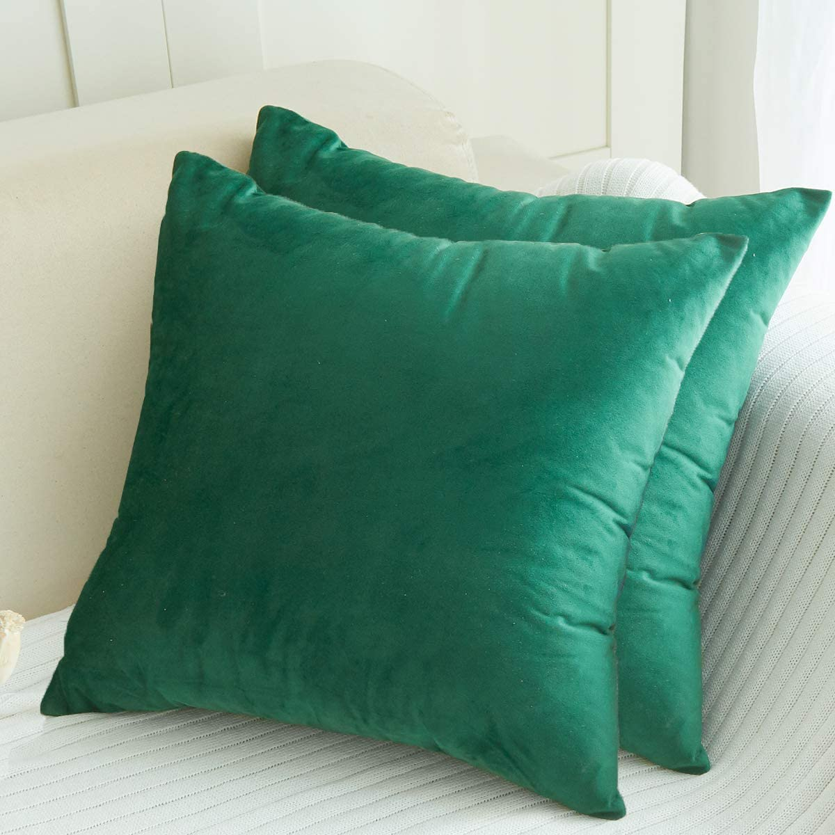 LHKIS Throw Pillow Covers 18x18 for Couch, Set of 2 Decrative Sofa Accent Cojines, Green