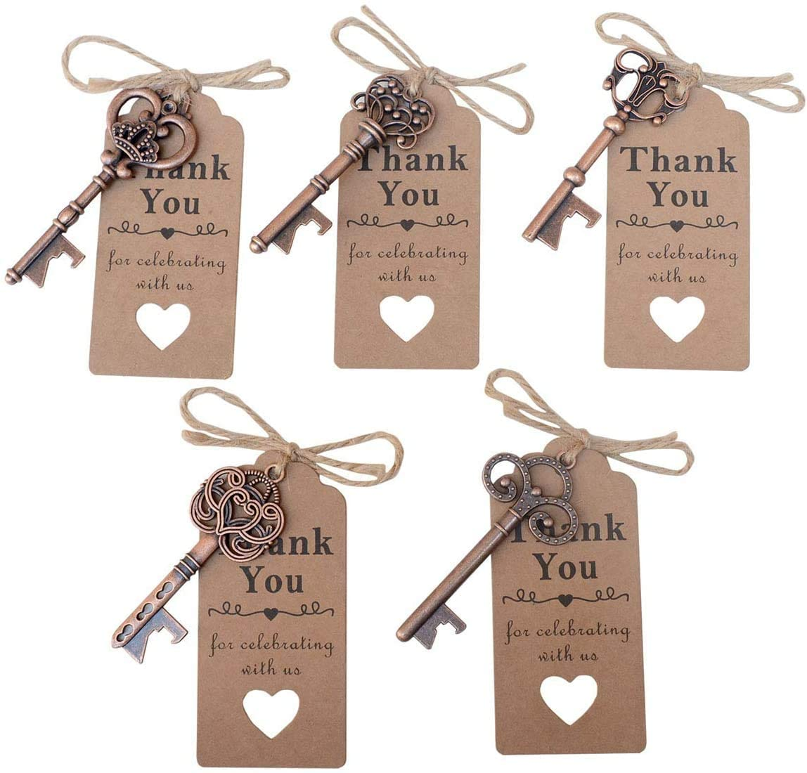 Yansanido 50pcs Copper Skeleton Key Bottle Opener Wedding Party Favor Souvenir Gift with 100 Escort Tag and Jute Rope(50pcs Copper)
