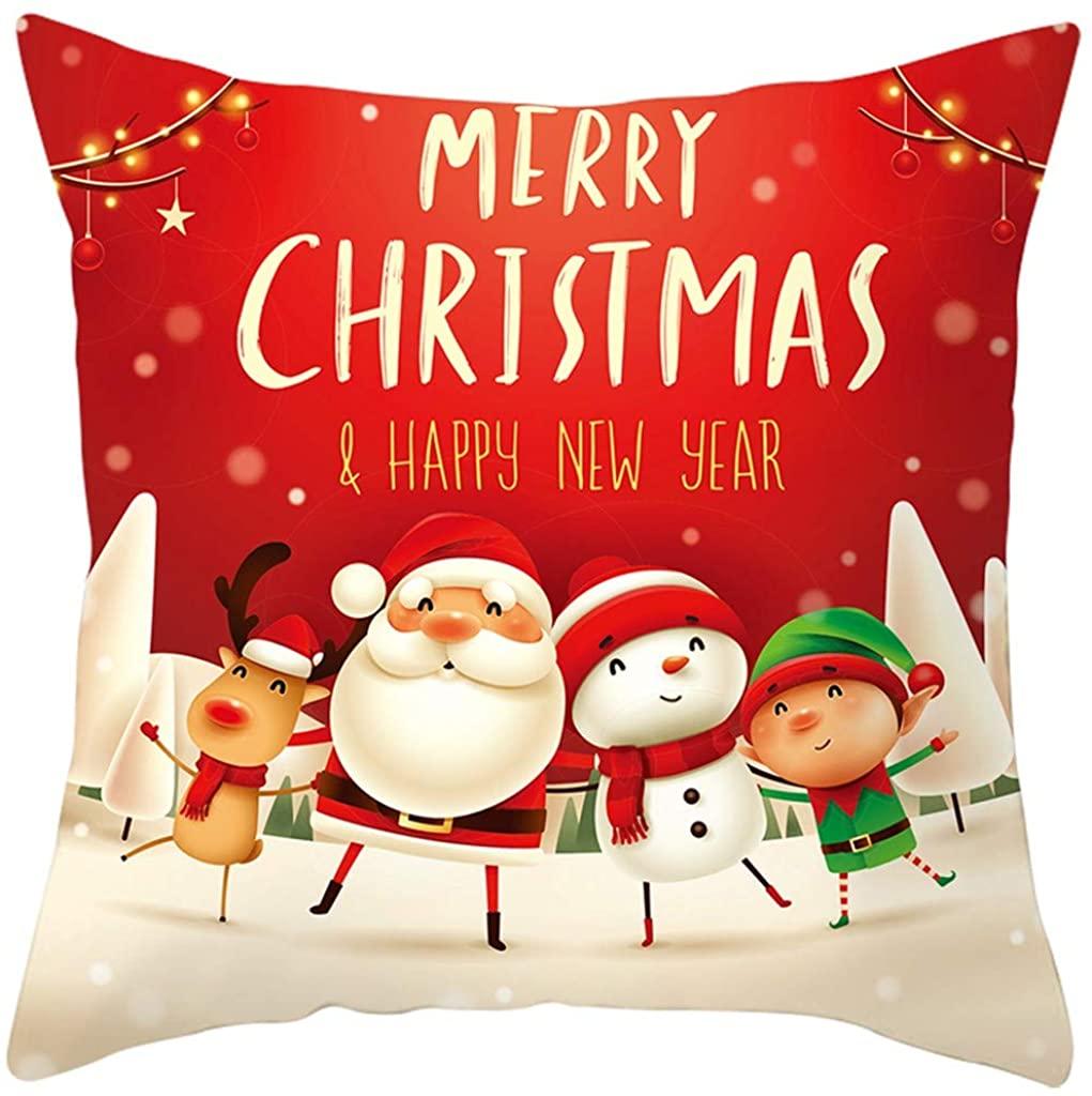 nikunLONG Christmas Pillow Covers Cartoon Santas Throw Pillow Case Bed Sofa Cotton Linen Cushion Case Farmhouse Decor
