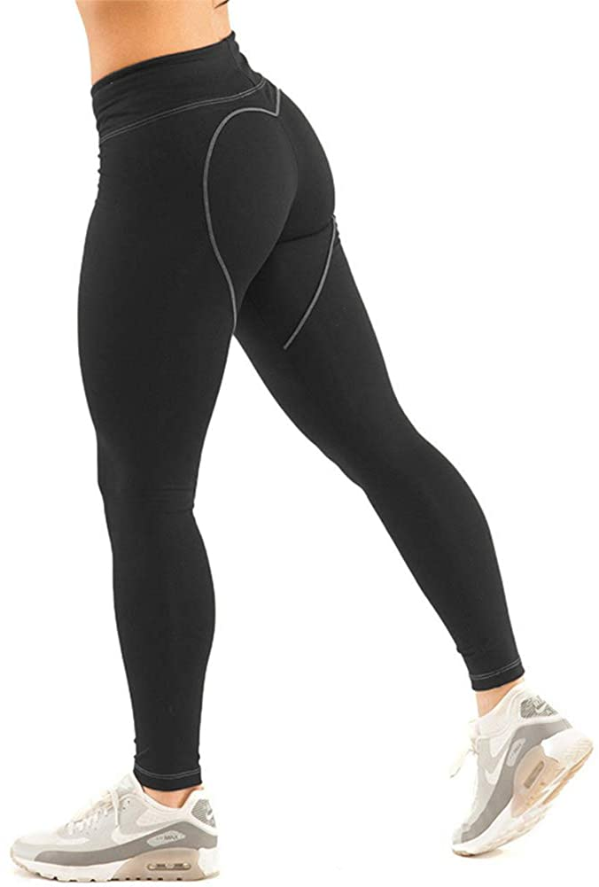 DSHT Women High Waisted Workout Capri Yoga Pants Athletic Gym Tights Tummy Control Compression Tights Black S-XL