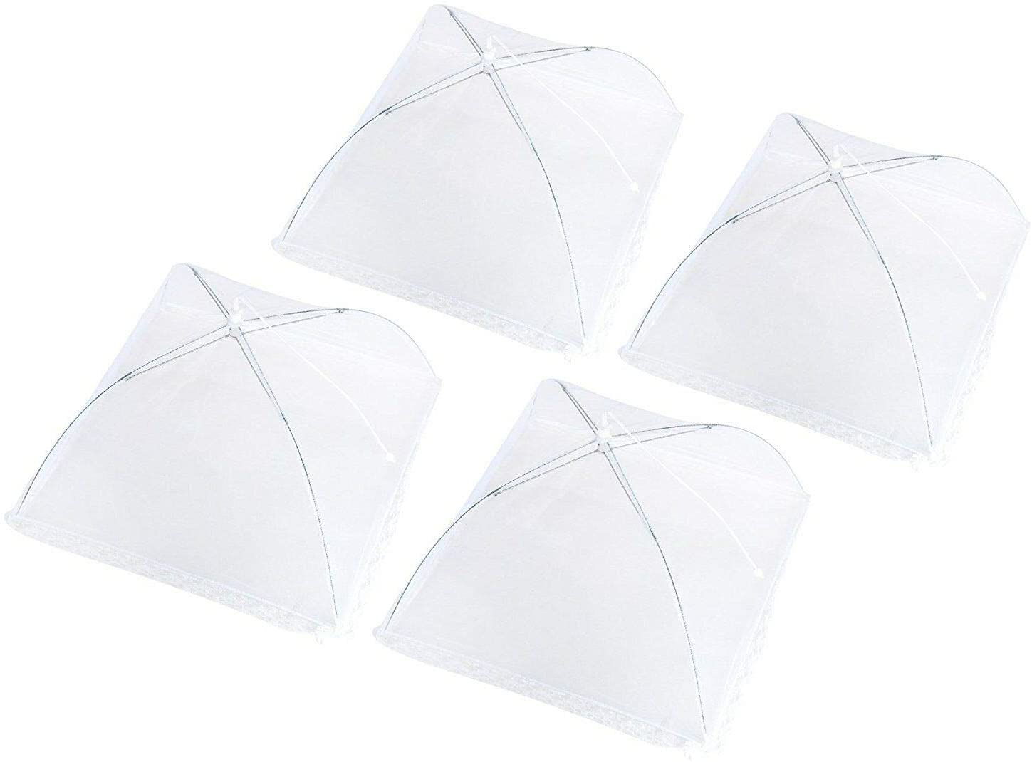 Set of 4 Pop Up Mesh Screen Food Cover Tents White - Keep Out Flies, Bugs, Mosqu