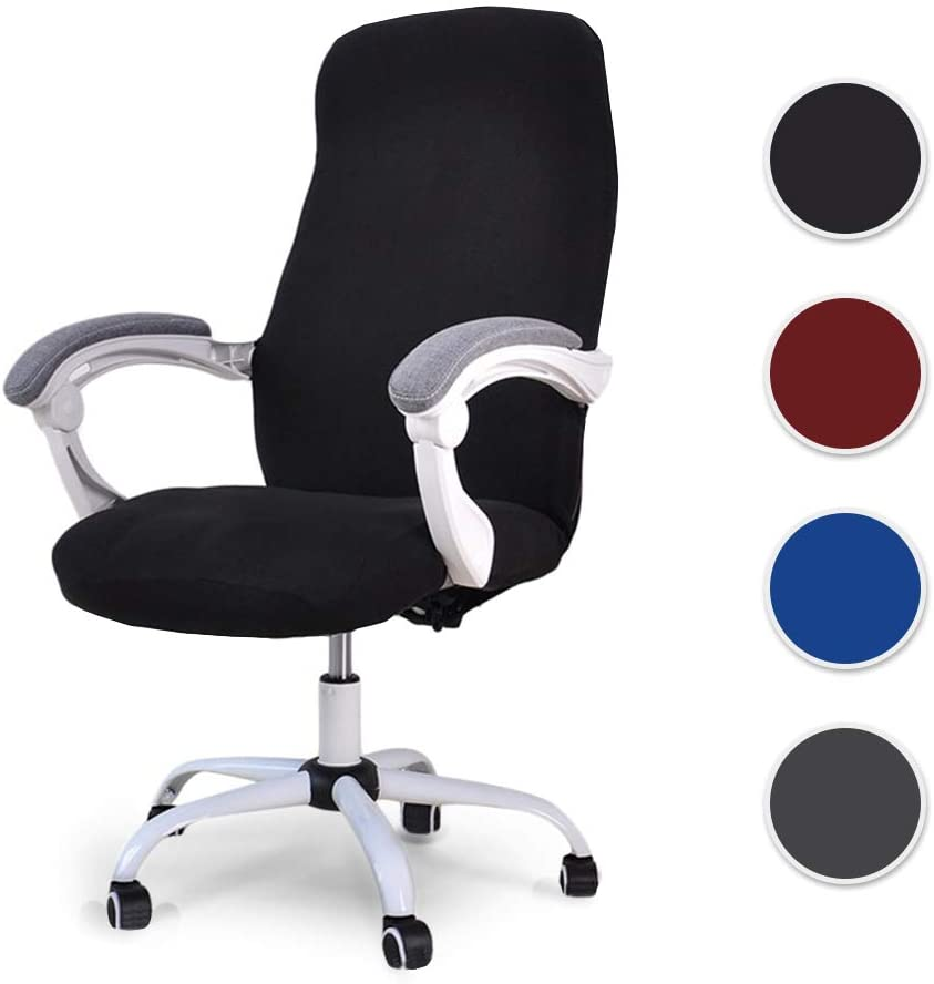 Homcosan Office Chair Cover Computer Boss Rolling Chair Slipcovers Stretchable Spandex Modern Simplism Style, Comfortable Anti-Dust Chair Furniture Protector with Zipper(Black, Medium)