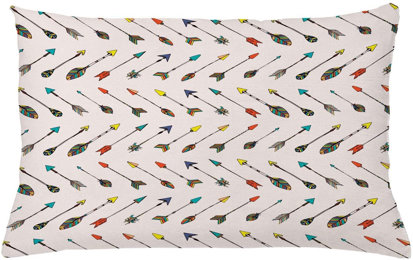 Lunarable Arrows Throw Pillow Cushion Cover, Arrows Design Vibrant Color Arrowheads Arrowtails Pattern Aztec Artwork, Decorative Rectangle Accent Pillow Case, 26 X 16, Turquoise Orange