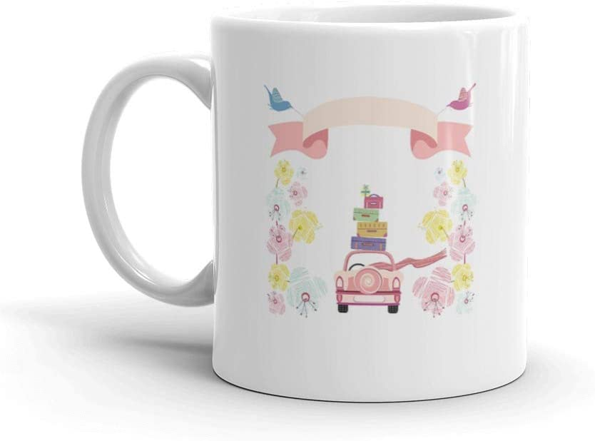 Wedding Car With Flowers And Suitcases Just Married Gift Water Mug Ceramic 11oz