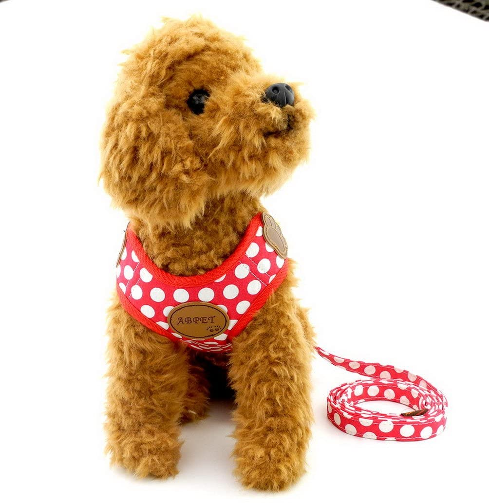 SELMAI Small Dog Harness Vest Leash Set Polka Dot/Camo Mesh Padded No Pull Leads for Puppy Pet Cat