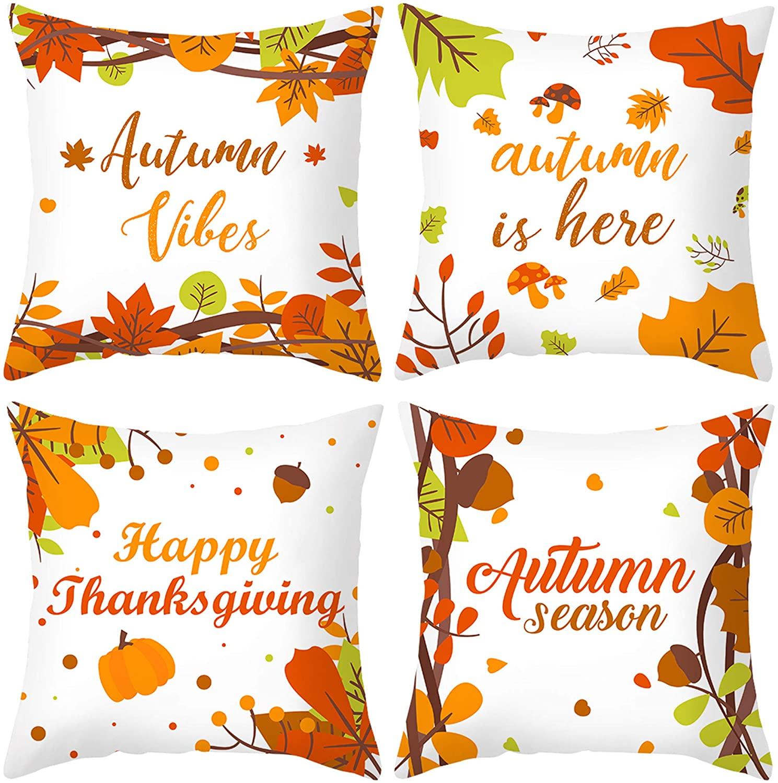 GLUDEAR Autumn Decorations Pumpkin Pillow Covers Set of 4 Fall Decor Grateful Thanksgiving Throw Pillow Covers Cushion Cover,Autumn Thanksgiving Season