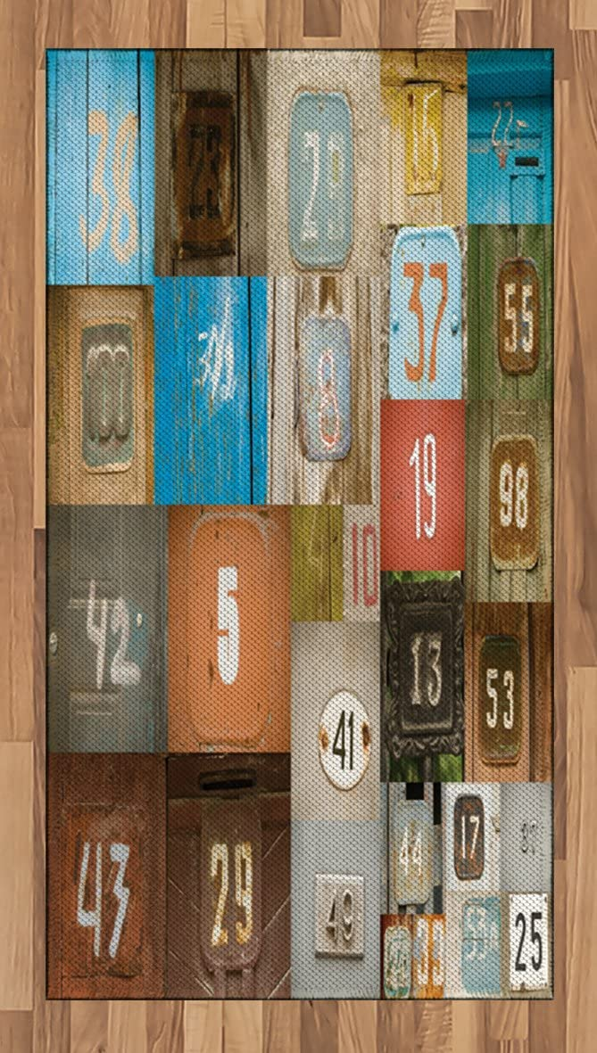 Ambesonne Modern Area Rug, Rusty Apartment Placards Nostalgic with Once Upon A Time Themed House Door Number Plates, Flat Woven Accent Rug for Living Room Bedroom Dining Room, 2.6 x 5 FT, Multicolor