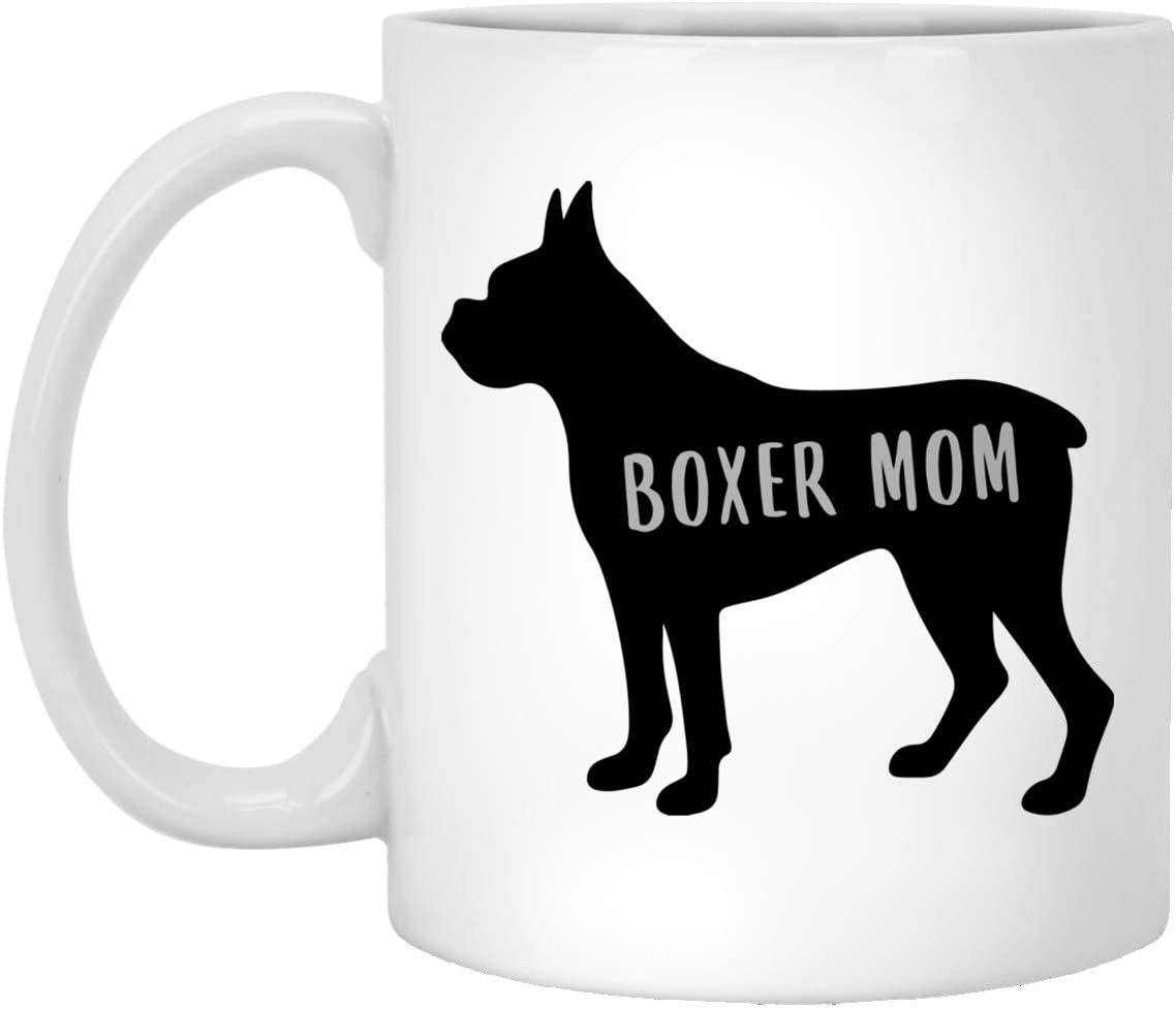 Cute Boxer Silhouette Mom For Women White Coffee Mug 11oz
