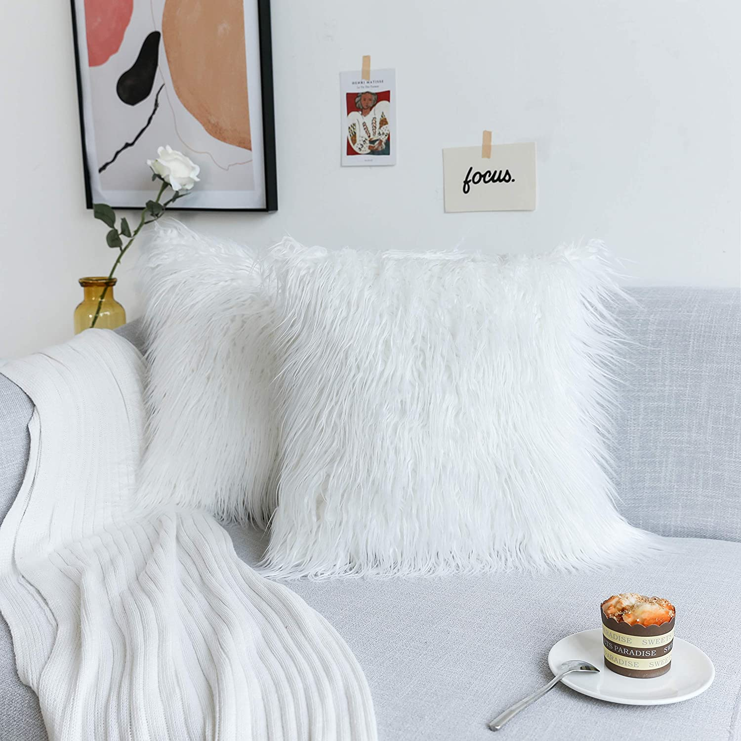 Kevin Textile Set of 2 Decorative New Luxury Series Merino Style Christmas Off-White Fur Throw Pillow Case Cushion Cover Pillow Cover for Bed, 20