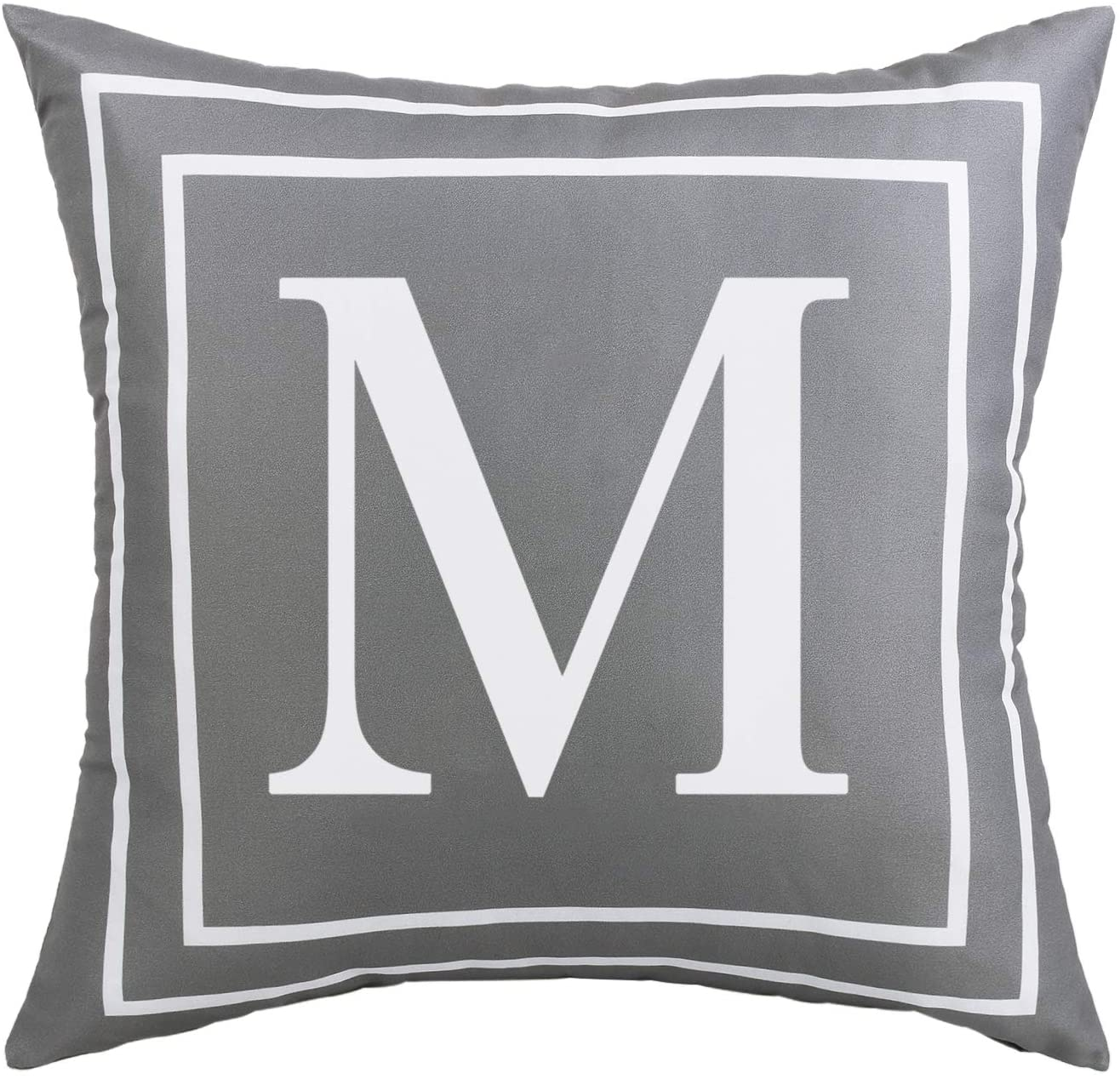 ASPMIZ Throw Pillow Covers English Alphabet M Pillow Covers Gray Pillowcases Initial Throw Pillow Covers Decorative Cushion Cover for Bed Bedroom Couch Sofa (Gray, 20 x 20 inch)