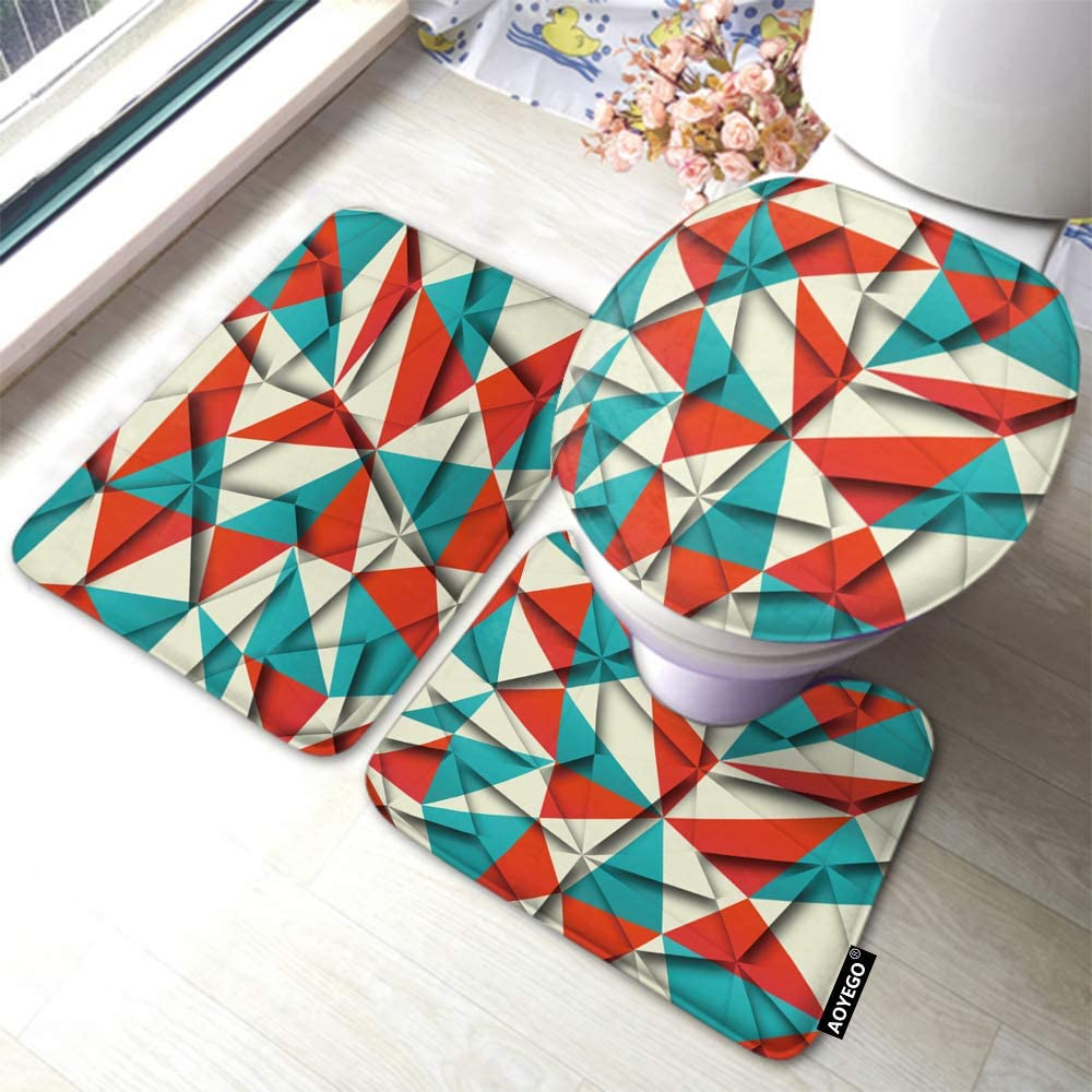 AOYEGO Geometric Bath Mat Set Red Blue Beige Triangles Polygon Web Lines Bathroom Mat 3 Pieces Rug Toilet Seat Lid Cover Non Slip Mat Anti-Skid Pad