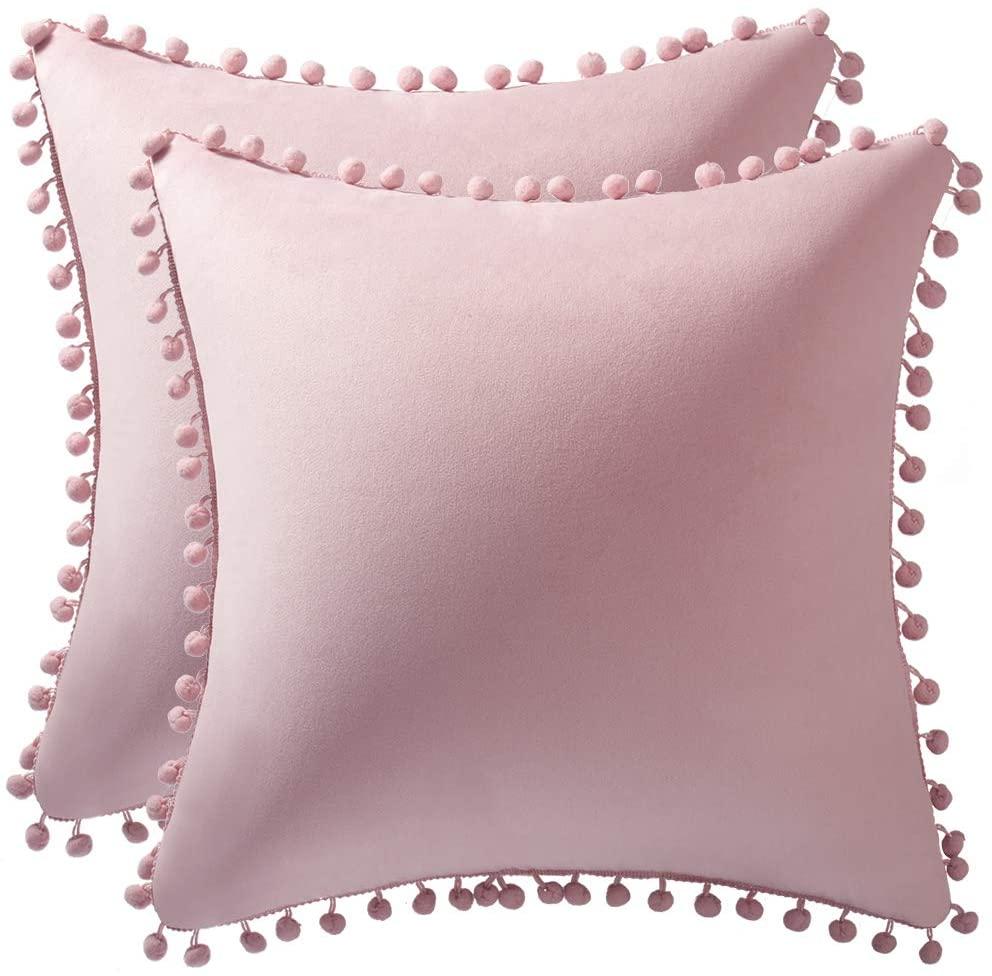 DEZENE 20x20 Throw Pillow Covers Pink: 2 Pack Cozy Soft Pom-poms Velvet Square Decorative Pillow Cases for Farmhouse Home Decor