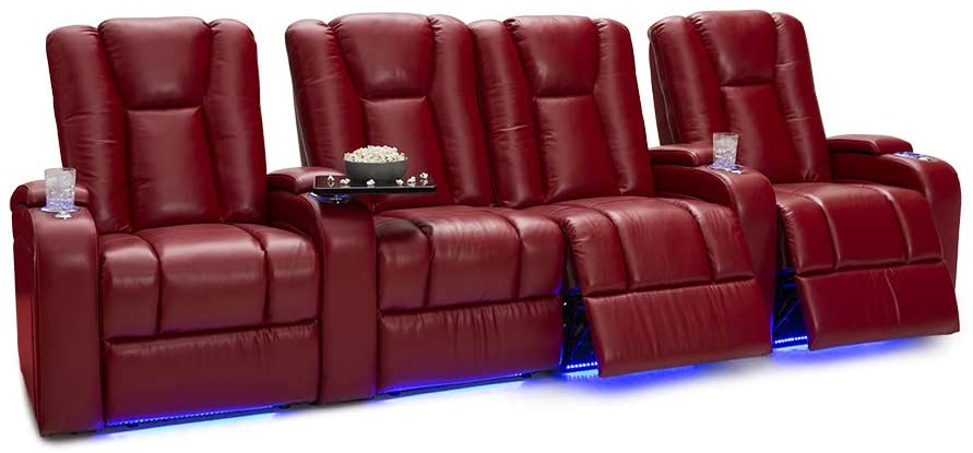 Seatcraft Serenity Leather Home Theater Seating - Power Recline - Tray Tables - in-Arm Storage - Ambient Base Lighting and Lighted Cupholders (Row of 4 Middle Loveseat, Red)