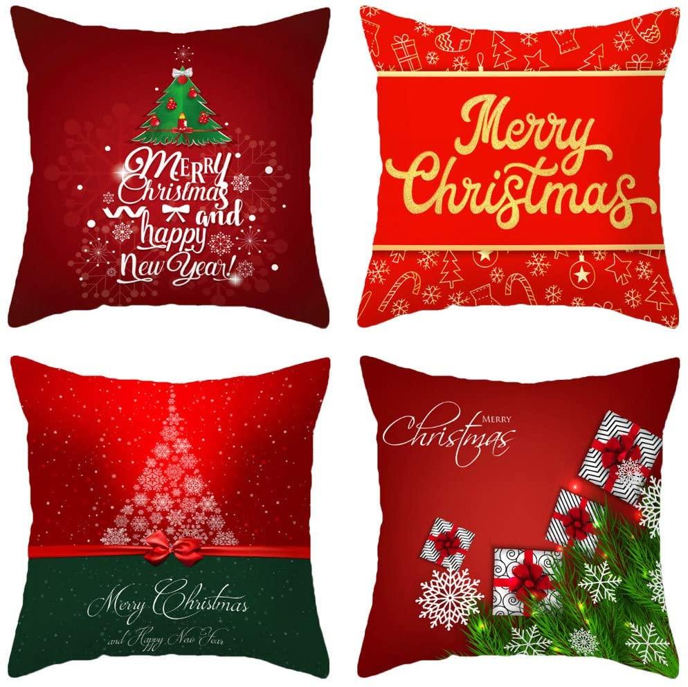 MOZATE Christmas Print Pillow Case Polyester Sofa Car Cushion Cover Home Decor 4PCS (S)
