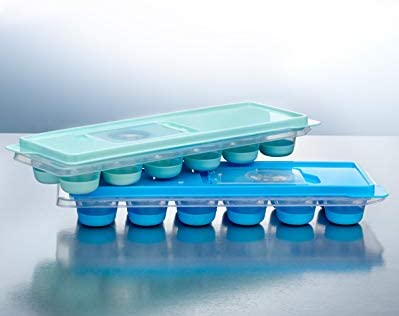 Silicone Ice Trays,pack of 3 includes 36 boxes, made of PP and silicone,%100 food grade silicone, soft, comfortable, flexible and durable. Pack of 3, Mix (Mint Green-Blue-Grey)