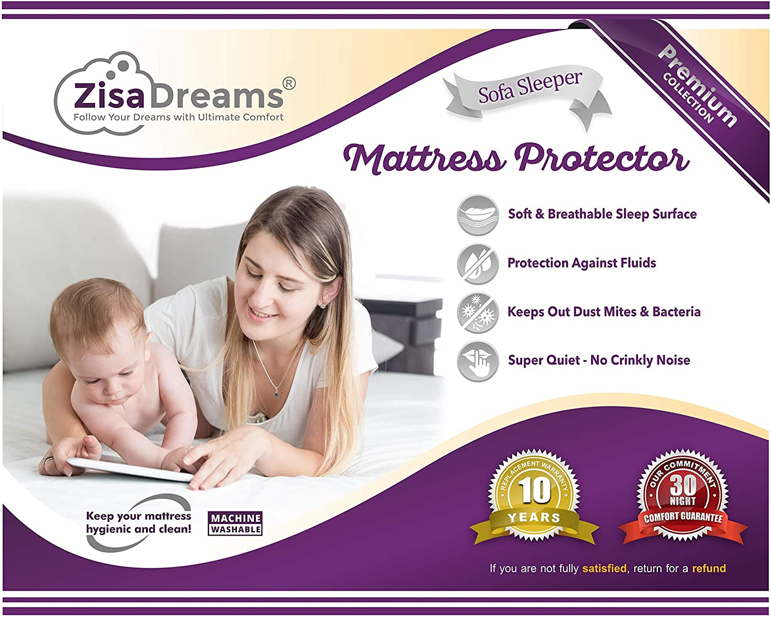 "Zisa Dreams - Mattress & Sofa Bed Sleeper Protector | Total Safety from Spillage & Dust Mite, Hypoallergenic, Waterproof, Premium 100% Jersey Cotton Top, Queen Size (60x80), 6"" Depth, White"