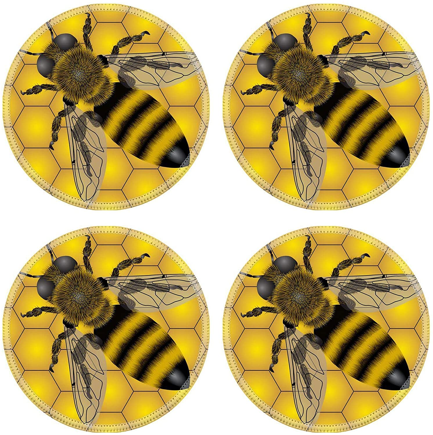 MSD Natural Round Drink Coaster set of 4 Image ID: 4930792 Seamless of bee