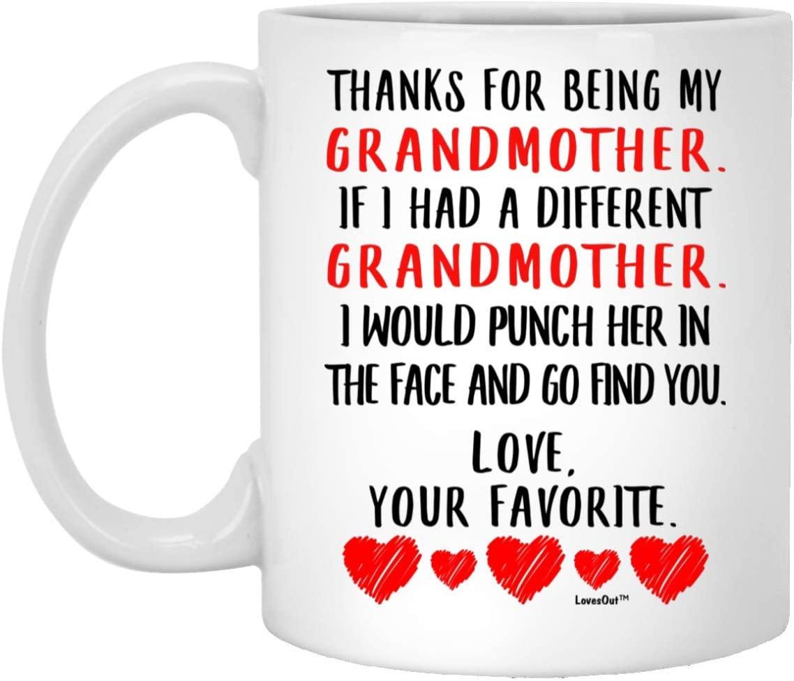 Funny Saying Grandmother Gift Thanks for Being My Grandmother Coffee Mug White 11oz