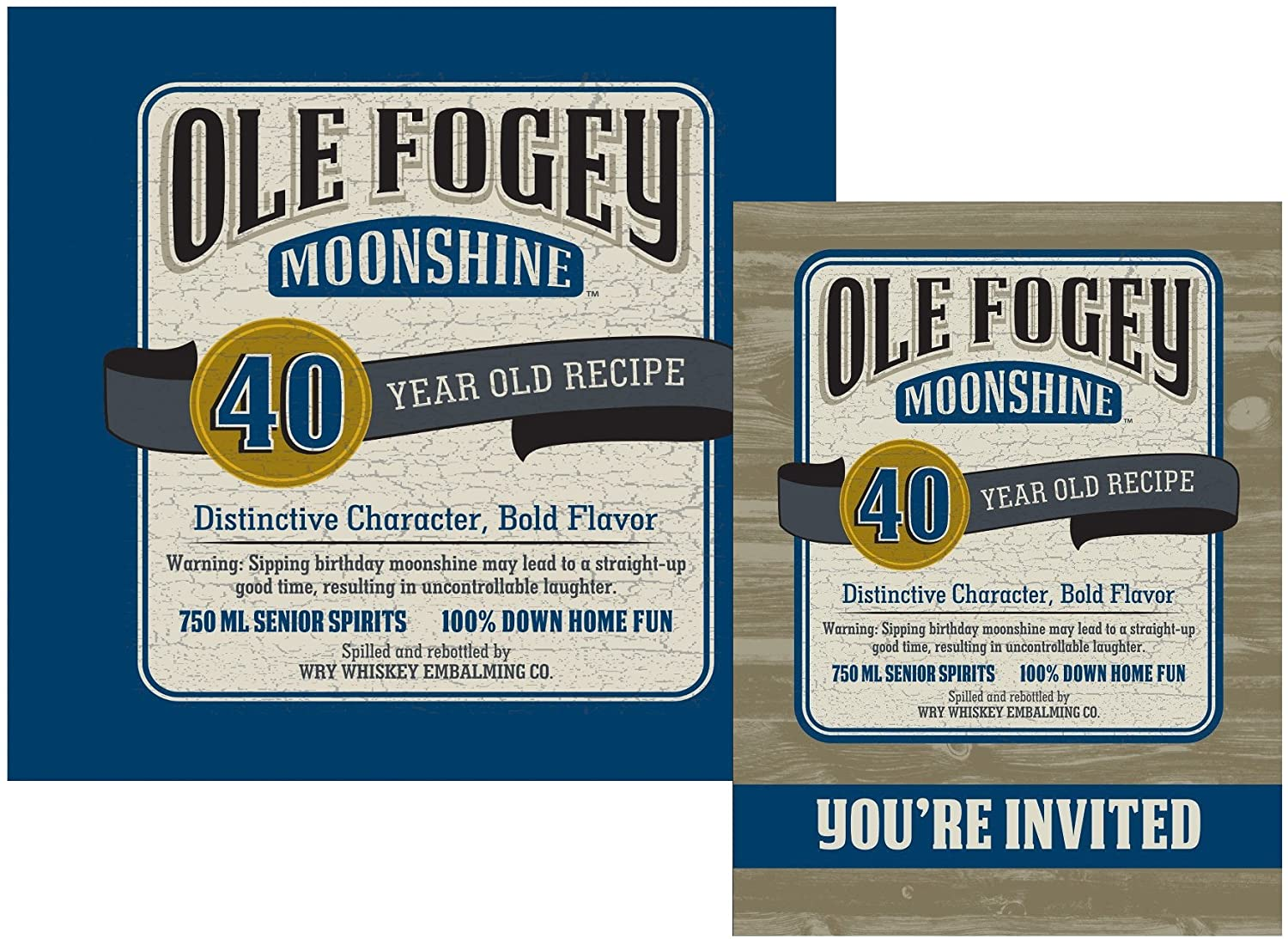 Ole Fogey Moonshine 40th Birthday Inviations (Pack of 8) 16 Napkins Party Supplies kit