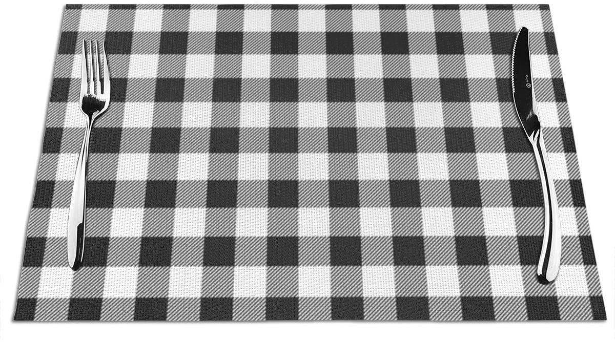 Placemats for Dining Table,Dark Grey and White Buffalo Plaid Washable Durable Woven Vinyl Heat Resistant Kitchen Table Mats Non-Slip Coffee Mats 12X18 inches,Set of 6