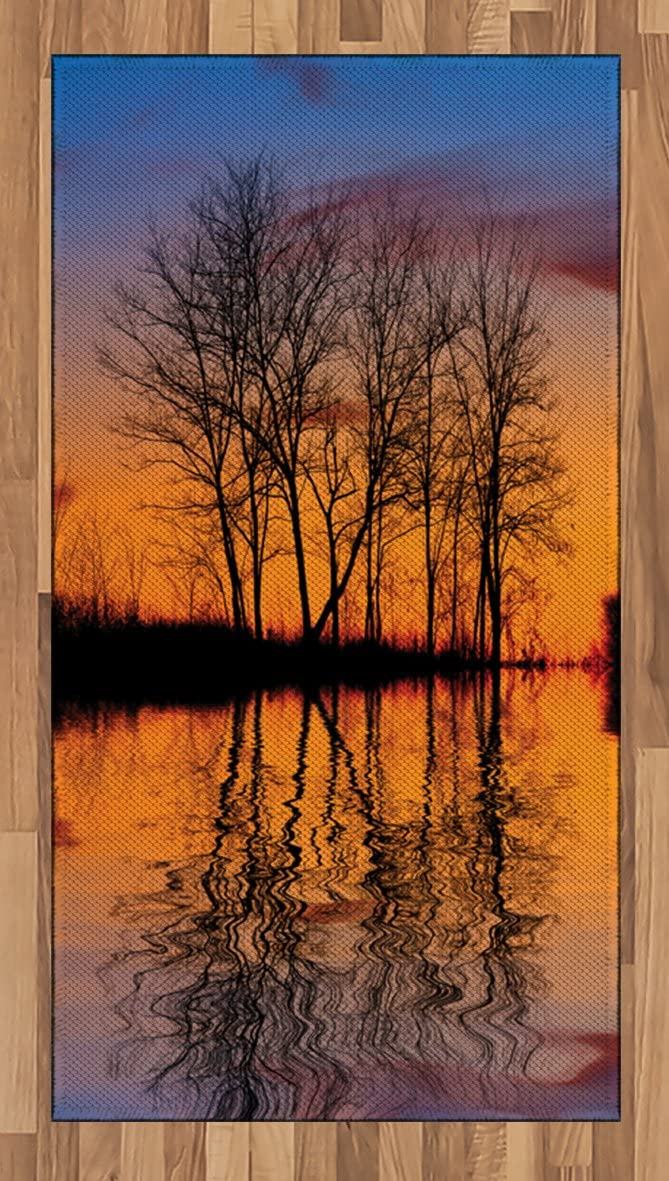 Ambesonne Nature Area Rug, Landscape from Mother Earth Sunset by The Lake with Fall Trees Forest Life Image, Flat Woven Accent Rug for Living Room Bedroom Dining Room, 2.6' x 5', Multicolor