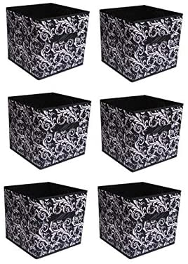 Shonpy Home Storage Box Household Organizer Fabric Cube Bins Basket Container, 6 packs, Black Flower