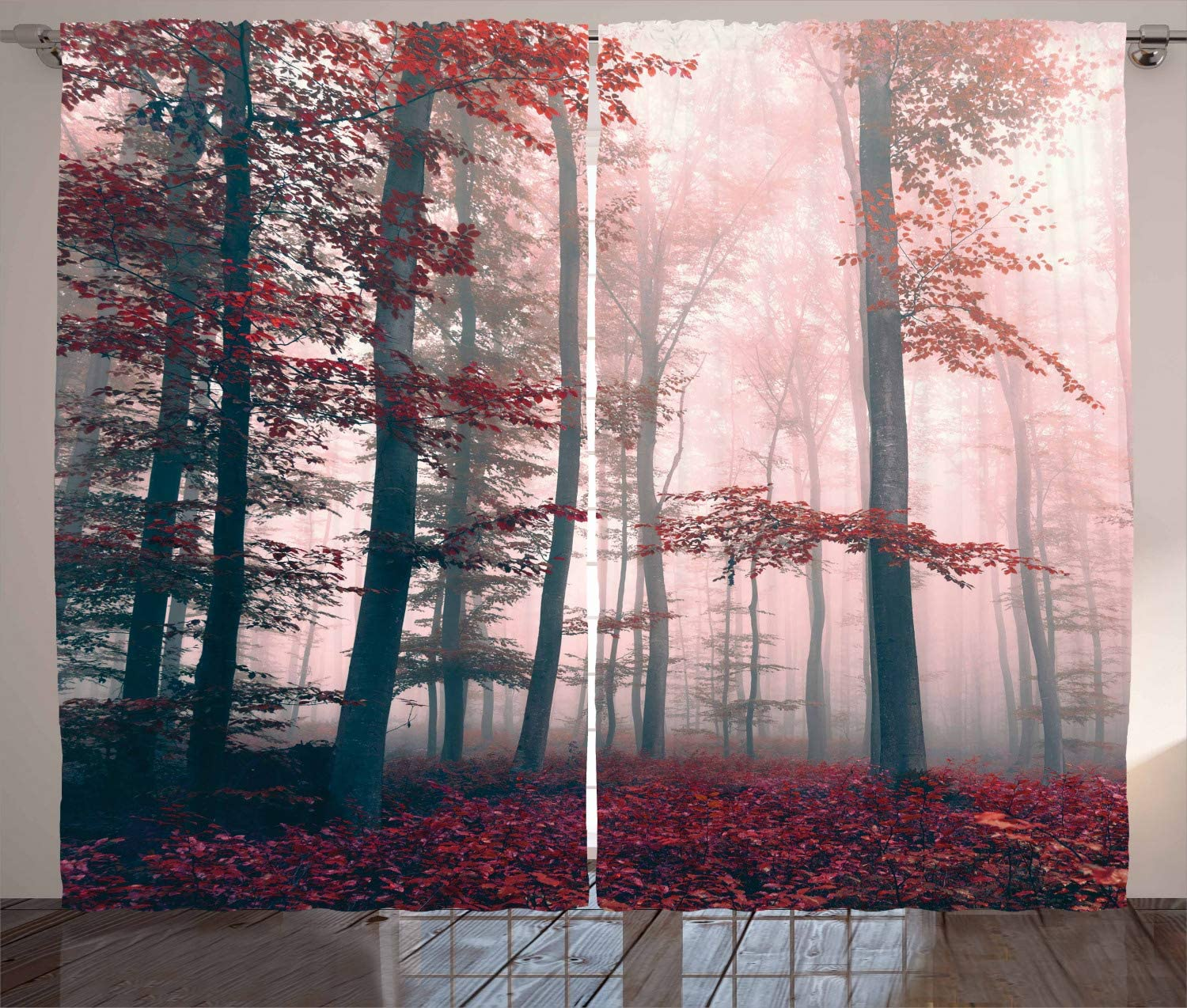 Ambesonne Forest Curtains, Autumn Season Mystic Foggy Fall Nature and Enchanted Woods Wild Trees Print, Living Room Bedroom Window Drapes 2 Panel Set, 108