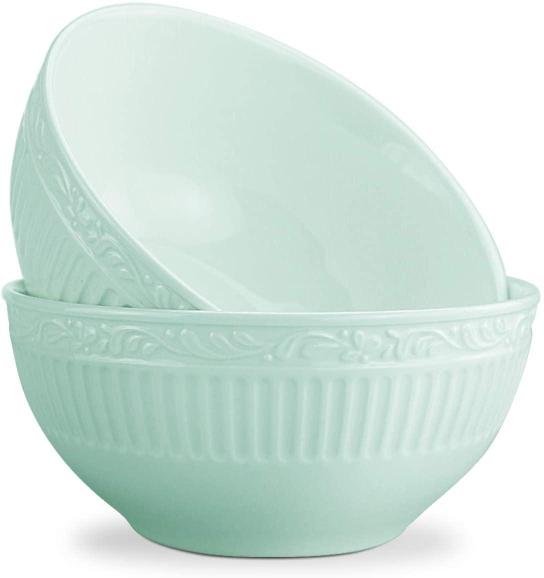 STAR MOON Ceramic Dinnerware Kitchen Bowls Large Serving Set for Cereal Soup, Green Set of 2, 550 ml, Microwave&Dishwasher Safe, BPA Free, Green (Set of 2)