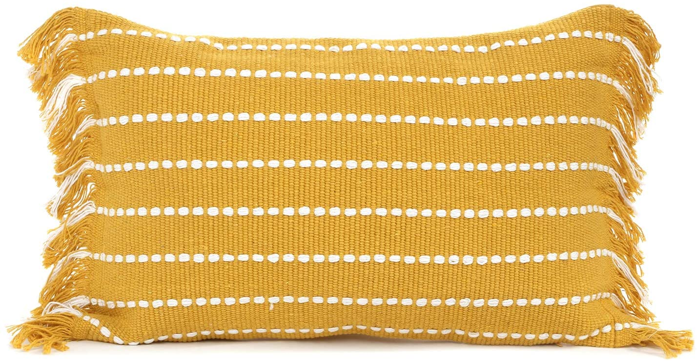 Ailsan Stripe Throw Pillow Cover 12X20 Inch Boho Tassels Decorative Pillow Case Hand Woven Tufted Pillow Covers Cute Farmhouse Cushion Case for Living Room Sofa Couch Bedroom, Yellow