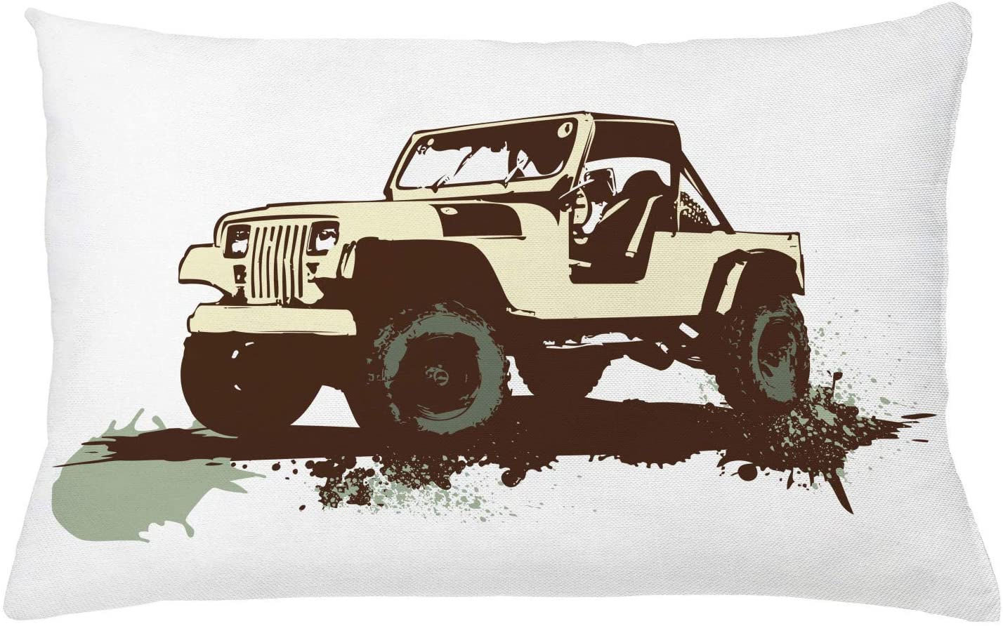 Lunarable Grunge Throw Pillow Cushion Cover, Retro Pop Art Style Vintage Car on The Road Adventure Graphic Design, Decorative Rectangle Accent Pillow Case, 26