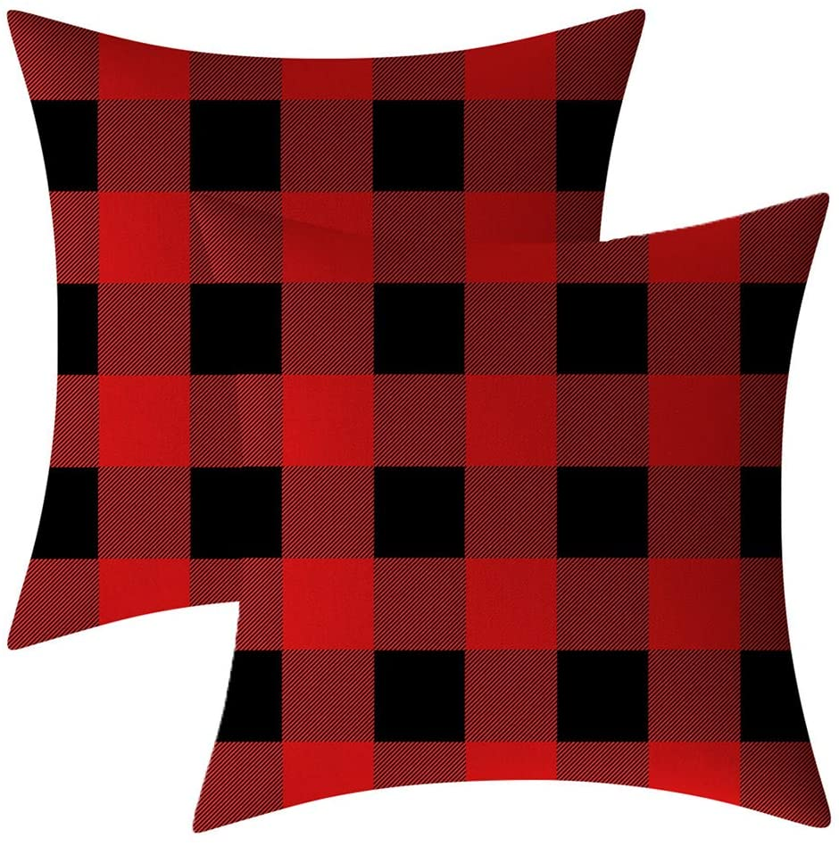 AHAHM Red and Black White Buffalo Check Plaid Throw Pillows Farmhouse Decorative Throw Pillow Case Indoor Outdoor Cushion Cover Pillowcase for Sofa 18 x 18 Inch Set of 2