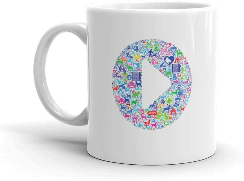 Play Button Dog And Canine Pet Colorful Icon Pattern Seamless Favorite Drink Mug Ceramic 11oz