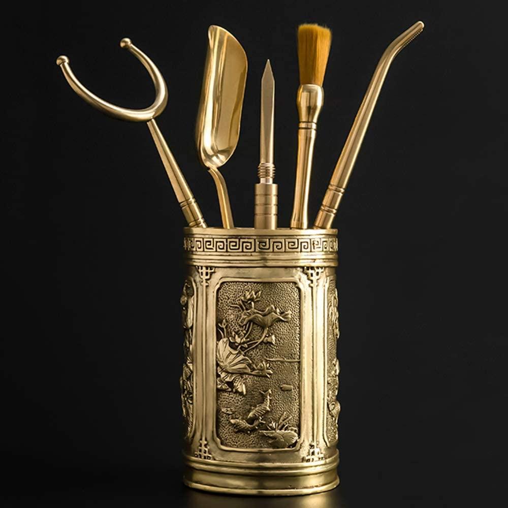 LOKIH Tea Accessories Set China Kung Fu Tea Set Accessories Brass Six Gentlemen Tea Washing Suit,Style 9
