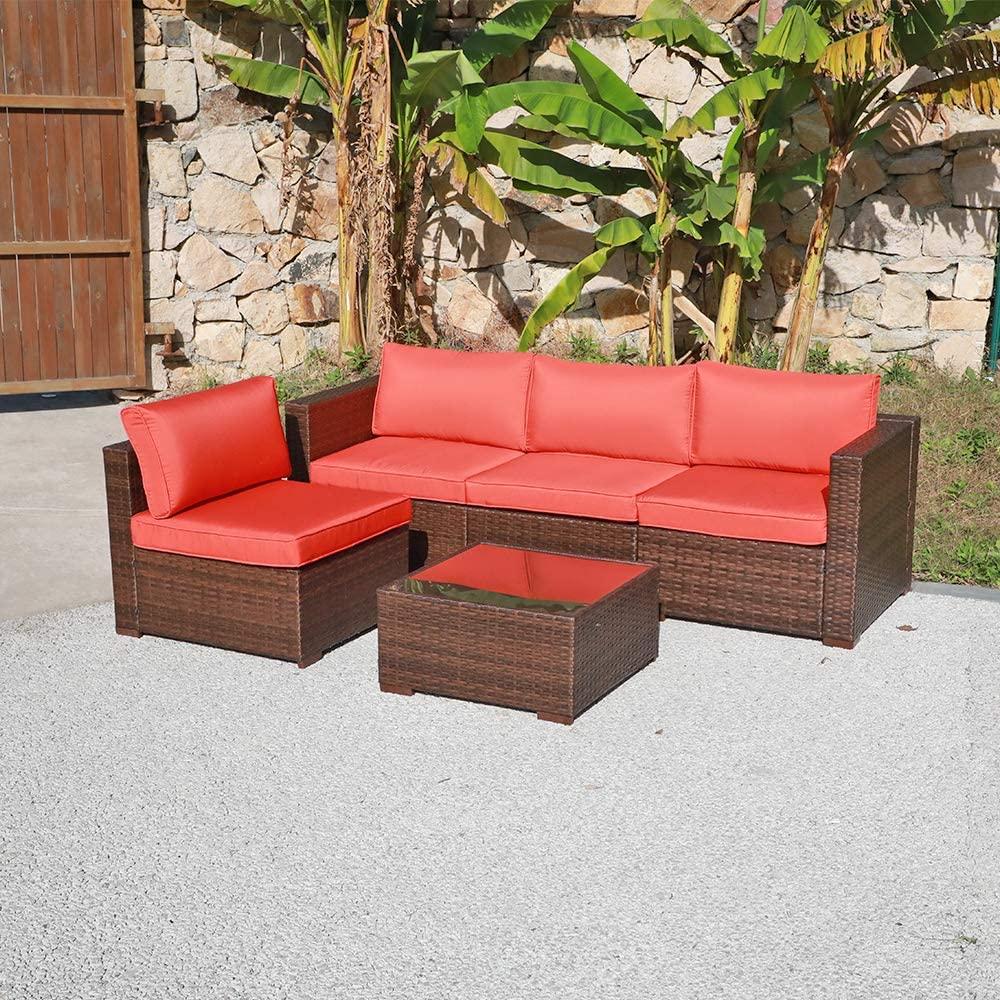 OC Orange-Casual Patio Rattan Sofa Set Couch Wicker Patio Furniture Set Garden Conversation Set, Brown & Orange Cushion (5pcs)