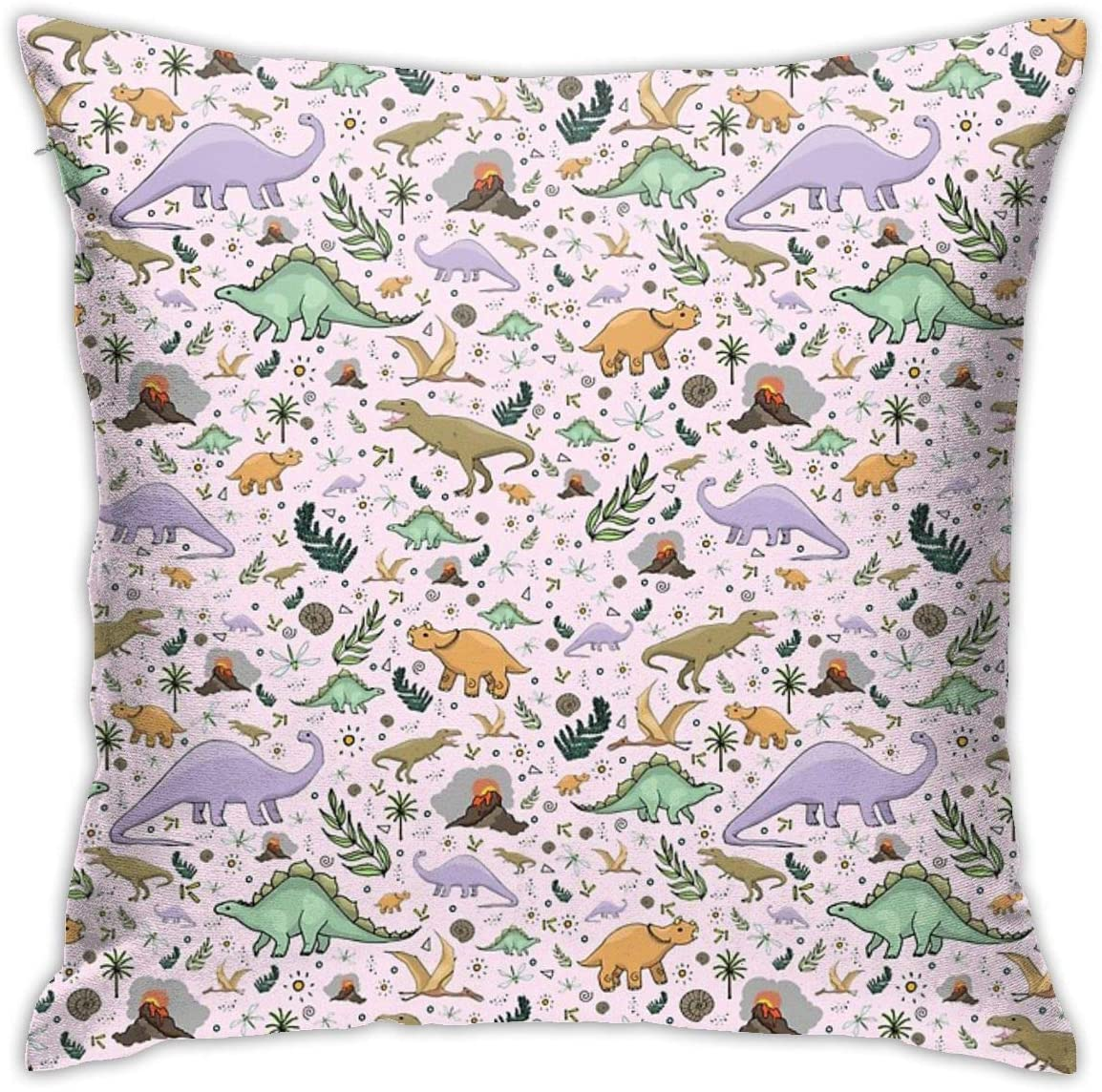 NYF Home Decor Dinosaurs in Pink Square Throw Pillow Cushion Covers Pillow Case, Soft Decorative Pillowcase for Couch Chair