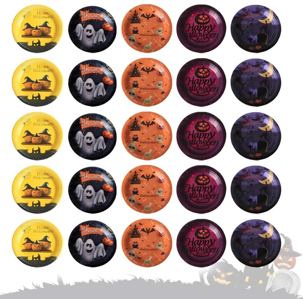 NUOBESTY 50Pcs Halloween Plates Disposable Dinner Paper Dessert Plates Trick or Treat Paper Dinnerware Party Supplies for Festival Kid Party (Assorted Color)