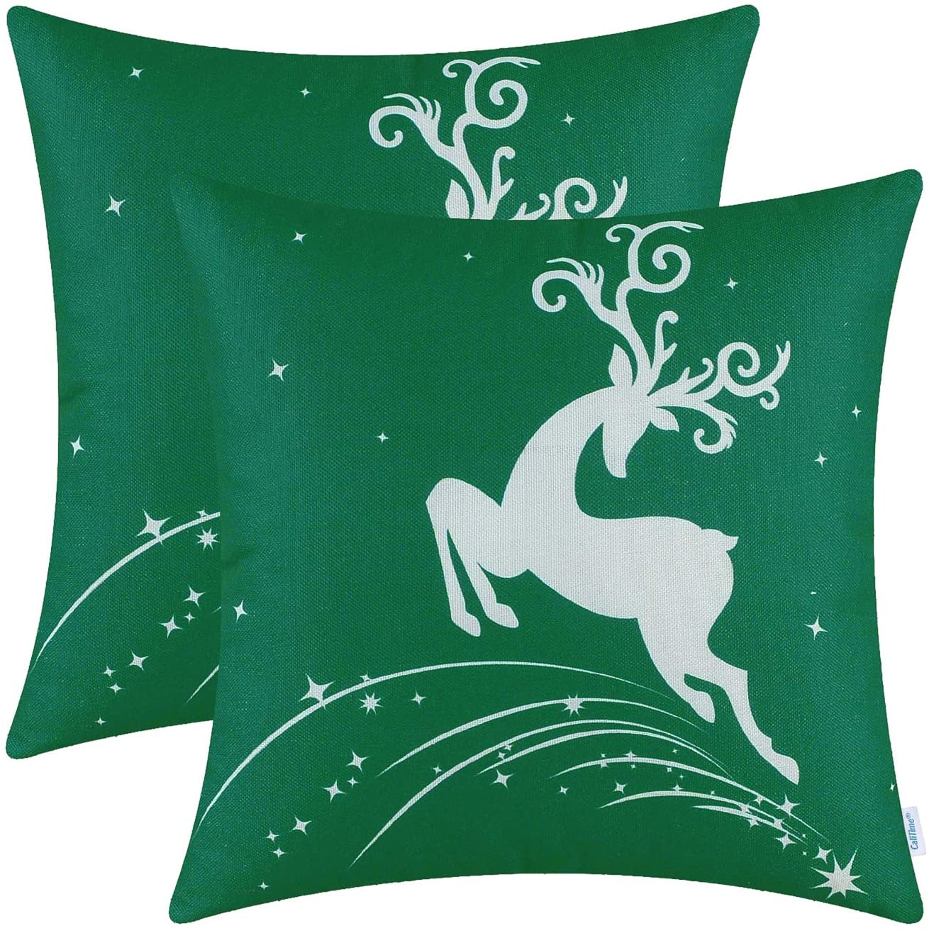 CaliTime Pack of 2 Soft Canvas Throw Pillow Covers Cases for Couch Sofa Home Decoration Christmas Holiday Reindeer Jump with Stars Print 20 X 20 Inches Christmas Green