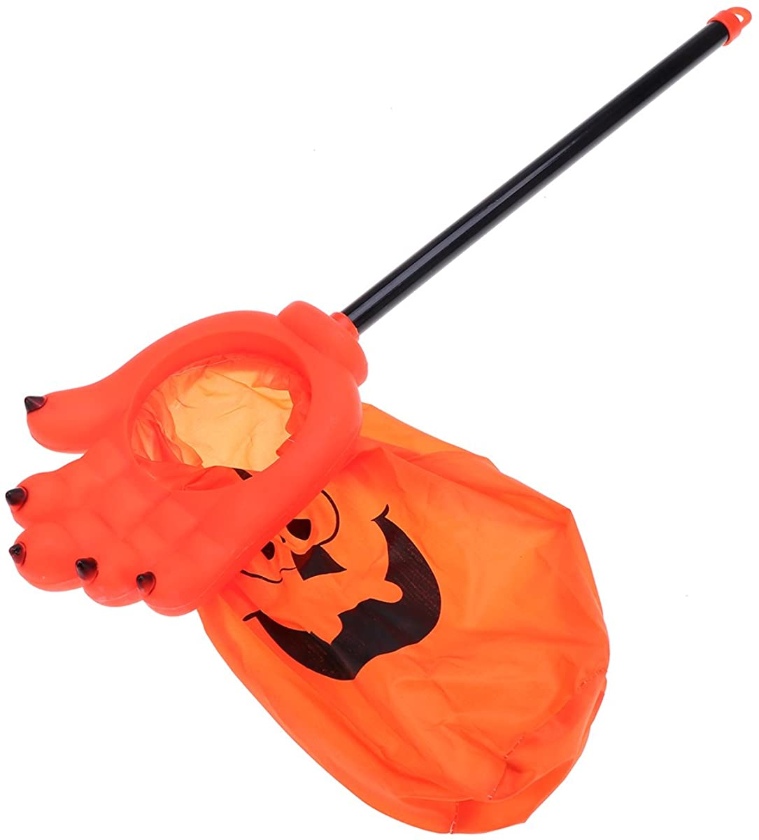 Trick Or Treat Bags Halloween Candy Bag Long Handle Ghost Hand Gift Bag Halloween Party Bag for Kids (Orange)