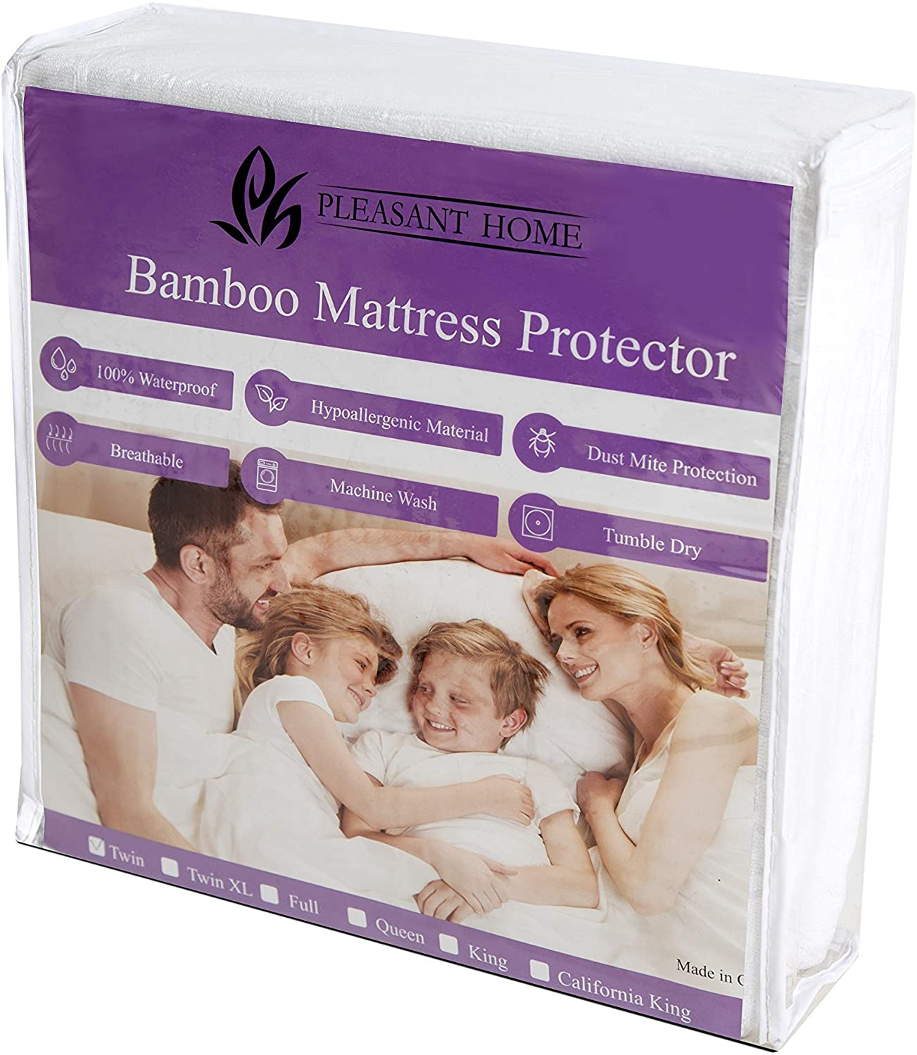 "Pleasant Home Mattress Protector, Jacquard Bamboo Waterproof Cover Pad – Fitted Sheet Style, Hypoallergenic, Breathable, 15"" Deep Pocket with Stretch Skirt Fits Any Size Mattress, White (Twin)"