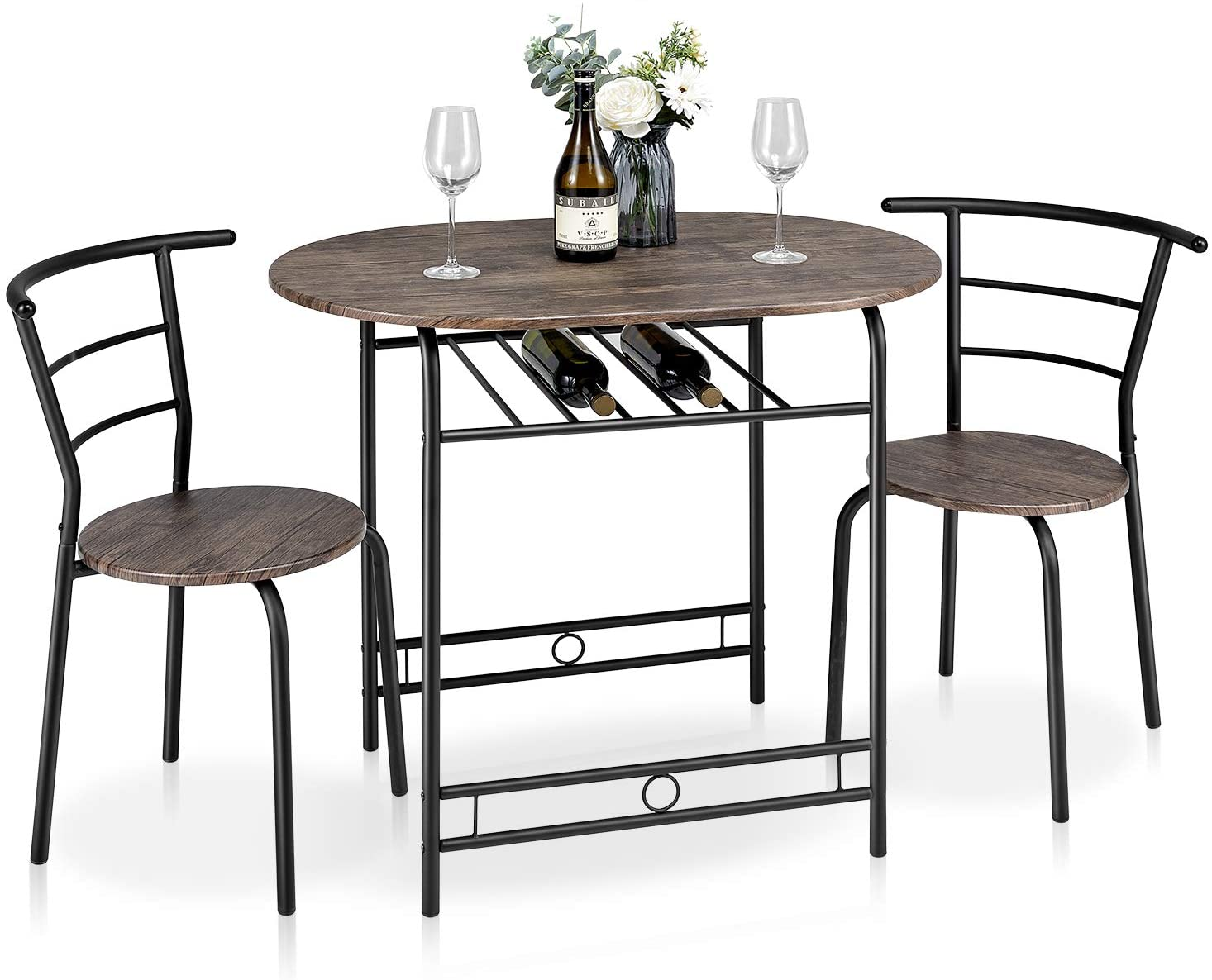 kealive 3 Piece Compact Dining Bistro Table Set with Wood Top and Metal Frame for Small Kitchen Studio, Dining Room Table Set for 2 with Shelf Storage Space Saving, Wood Grain