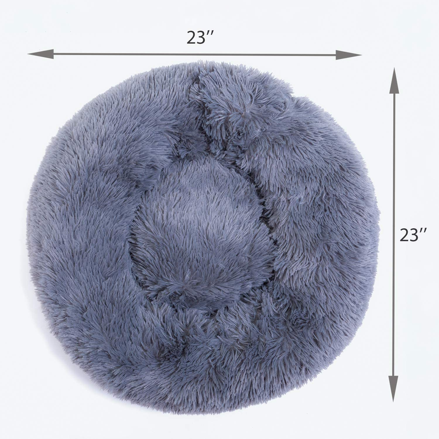 NaNa Calming Shag Fur Donut Cuddler Round Dog Bed Ultra Soft Comfortable Washable Dogs and Cats Cushion Bed