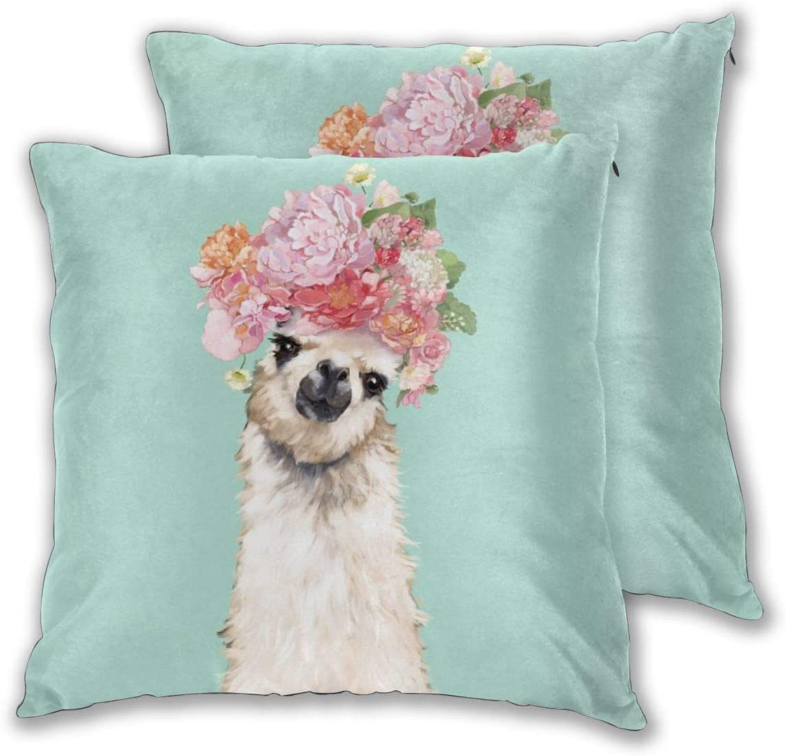 Nonebrand Throw Pillow Covers, Llama with Flowers Crown Modern Decorative Pillowcase Double Side Print Cushion Covers for Sofa Couch Bed 18x18 Inches,Set of 2