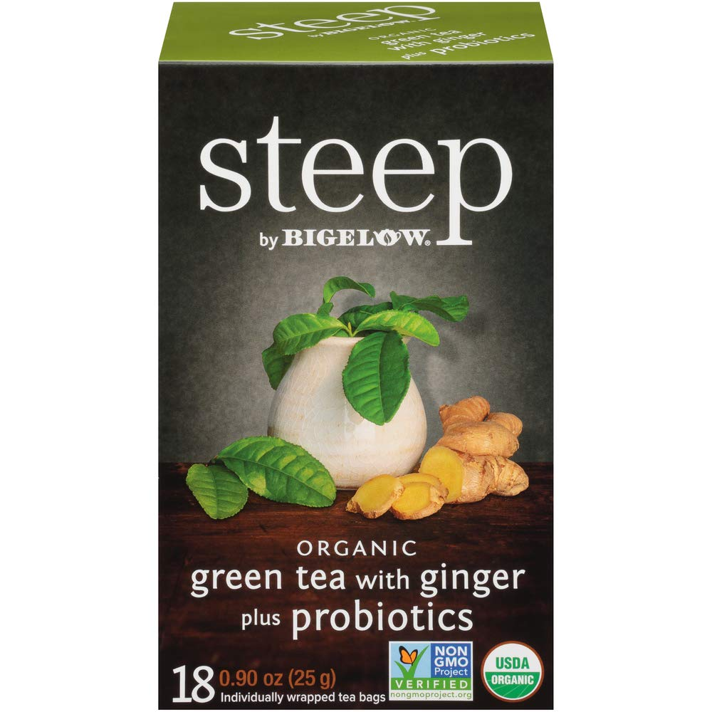 steep by Bigelow Green Tea With Ginger Plus Probiotics, 18 Count Box (Pack of 6) Caffeinated Green Tea, 108 Tea Bags Total