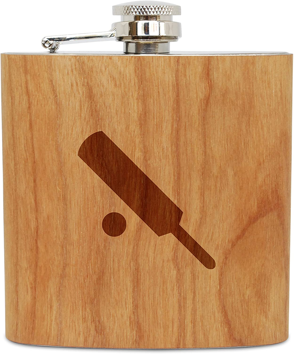 WOODEN ACCESSORIES COMPANY Cherry Wood Flask With Stainless Steel Body - Laser Engraved Flask With Cricket Design - 6 Oz Wood Hip Flask Handmade In USA