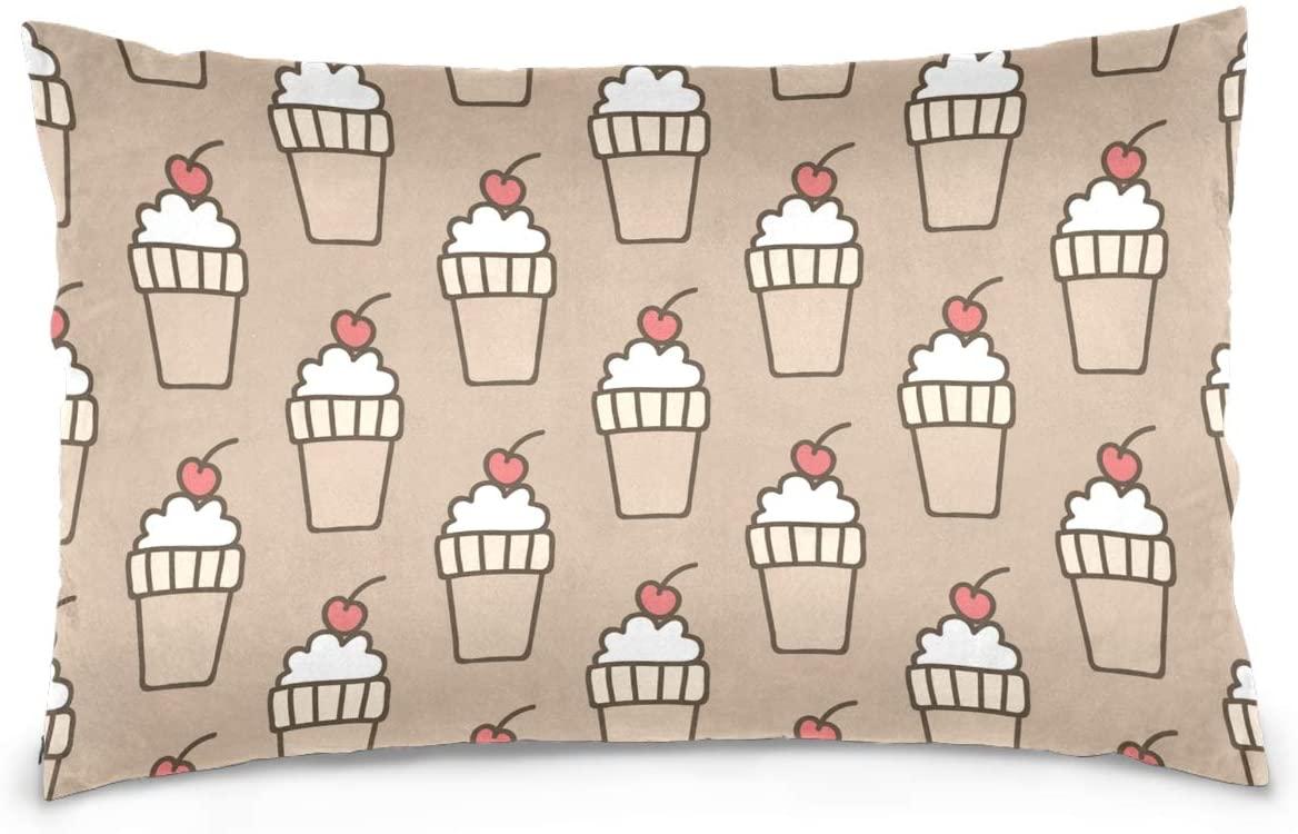 Kaariok Cherry Ice Cream Funny Cartoon Pillowcase, Cotton Soft Pillow Case Cover Protector with Hidden Zipper 16 X 24 Inches
