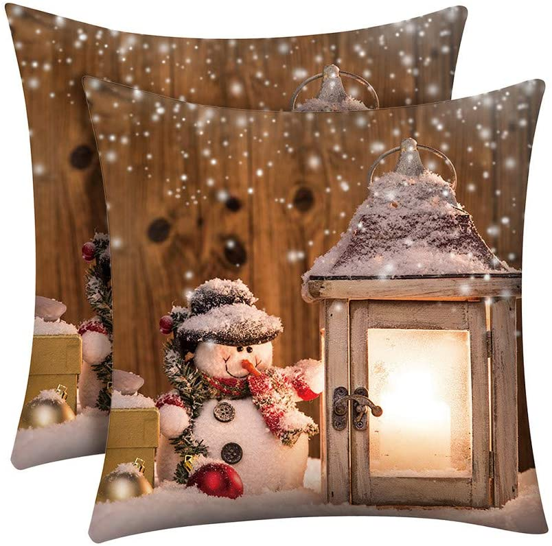 FZAI Christmas Decorations Sale,Christmas Pillow Case Glitter Polyester Sofa Throw Cushion Cover Home Decor Merry Christmas Decorative Xmas Decor Ornaments Party Decor Gifts for Kids and Adults