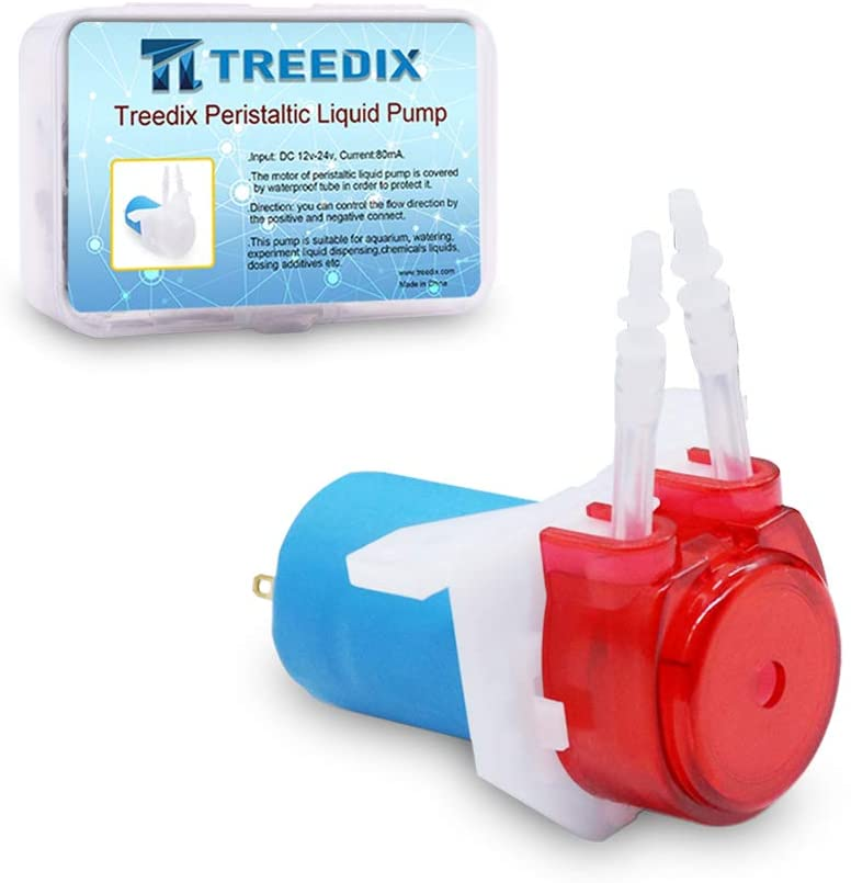 Treedix Peristaltic Pump Dosing Head 4MM OD Tubing with Hose Connector DC12-24V for DIY Aquarium Lab Analytic Experimental Applications Compatiable with Arduino