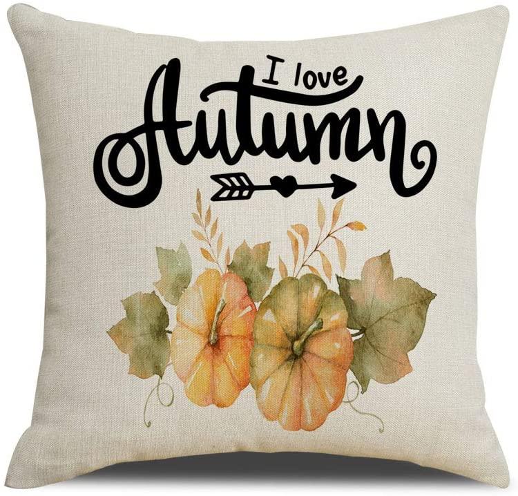 QIQIANY Autumn Pumpkins Watercolor Decorative Throw Pillow Covers 18x18 Square Soft Cotton Linen,Home Decor Design Set Cushion Case Pillowcases for Sofa Bedroom