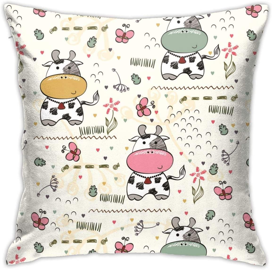 Cute Cartoon Cow Throw Pillow Cover 18X18, Double Side Design Bolster Pillowcase, Decorative Cushion Pillow Case for Car Sofa Theme Brithday Party Bedroom Decor Kid Girls Boys